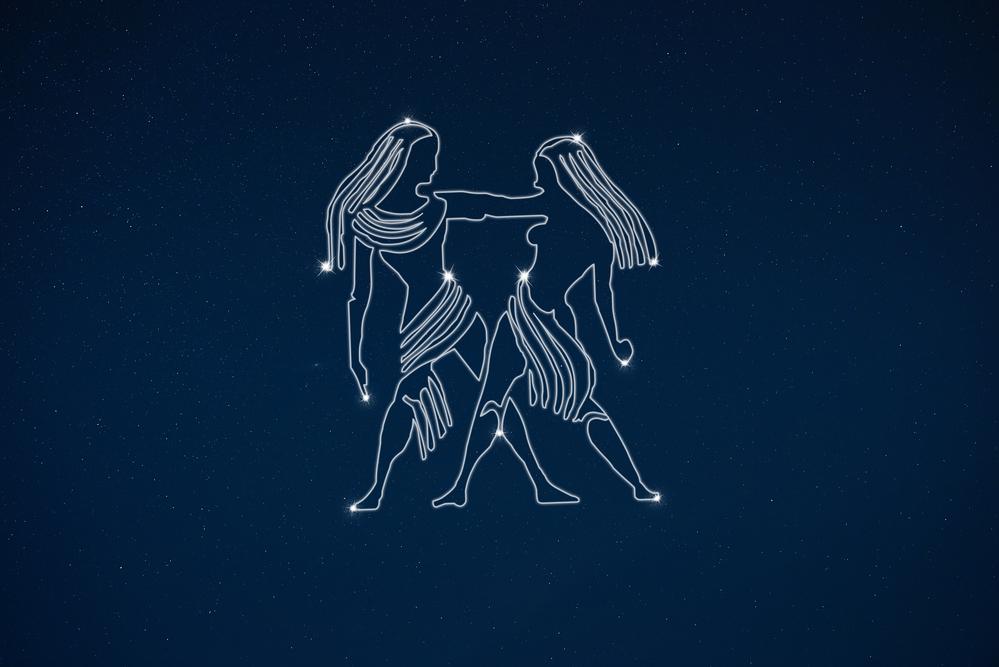 Horoscope zodiac sign Gemini in dark sky