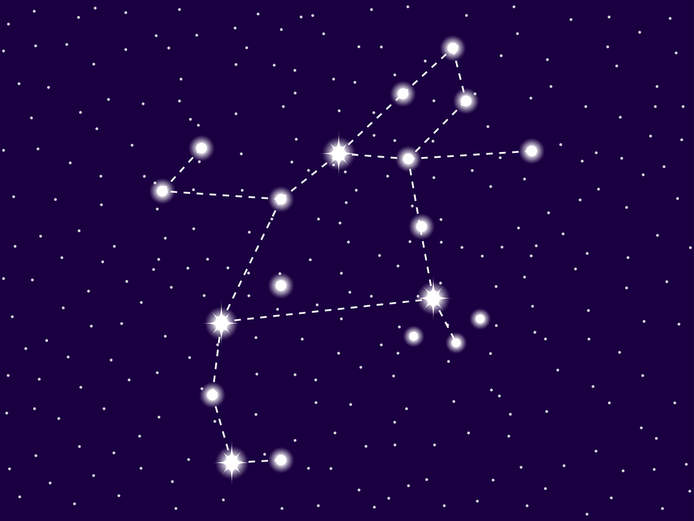 Perseus constellation. Starry night sky. Cluster of stars and ga